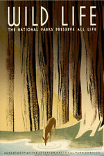 Wild Life National Parks WPA Vintage Travel Poster