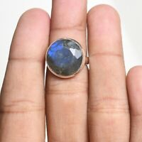 Labradorite Solitaire Ring Size 7 925 Solid Sterling Silver Handmade Jewelry
