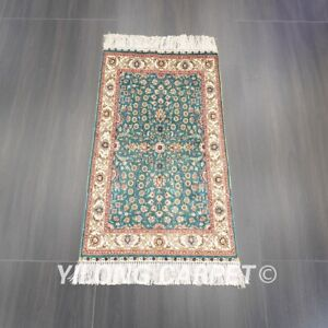 YILONG 2'x3' Handknotted Silk Carpet Floral Tapestry Oriental Area Rug L039B