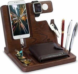 Wood Phone Docking Station Oak Key Holder Wallet Stand Watch Organizer GIFT Xmas