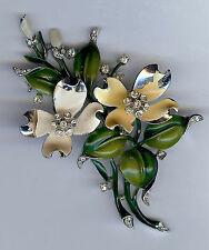 TRIFARI VINTAGE RHODIUM ENAMEL RHINESTONE DOGWOOD FLOWERS DIMENSIONAL PIN BROOCH