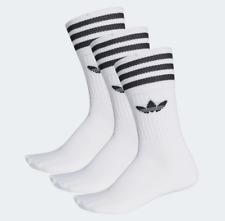 Adidas Mid Cut White Black Mens 9-11USA Crew Socks 3 Pack
