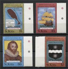ST KITTS, X-MAS / FRANCIS DRAKE 1985, SPECIMEN OVERPRINTS