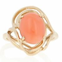 Oval Cabochon Cut Coral Ring - 14k Yellow Gold Solitaire Bypass