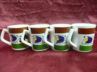 50 / 23 Made in Japan China set of 4 mugs with blue flowers kitchen dishes cups