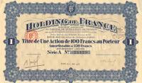 Holding de France > 1928 Series A Paris France certificate stock