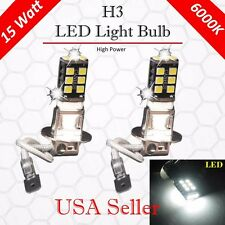 2X Super Bright White H3 15W High Power For Fog Driving DRL LED Light Bulb Lamp