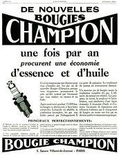 Publicité ancienne bougies Champion 1928 issue de magazine