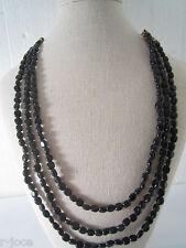 collana 3 fili in onice nera montata su cordino classico orientale lungo 48 cm