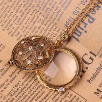 de Klassischer Gold Weibliches Damen Lupe Blumenmuster Fein Muster Halskette