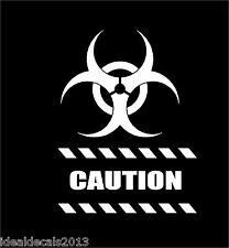 """CAUTION STICKER decal  8"""" x  6""""  in Color WHITE"""