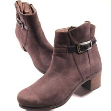 Dansko Brown Nubuck Leather Side Zip Ankle Booties Size 41 (10.5 US) Women's