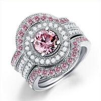 3Pcs/Set Fashion Women 925 Silver Pink Sapphire Jewelry Wedding Ring Size 6-10