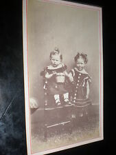 Cdv old photograph 2 children with bucket by J Court at Southwold c1860s
