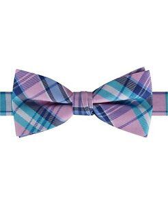 Tommy Hilfiger Big Boys Pre-Tied Pastel Plaid Adjustable Bow Tie- Pink Aqua Blue