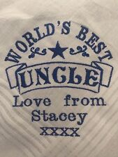 Personalised Embroidered UNCLE hankie, Christmas Xmas birthday present gift
