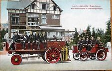 Fire Fighters 1907 Postcard: Amsterdam Firemen & Two Vehicles/Pumps- Netherlands