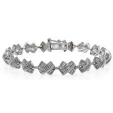 Genuine Diamond Accent X Tennis Bracelet in Silver Tone