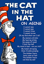 THE CAT IN THE HAT ON AGING HUMOROUS BEER FRIDGE LOCKER MAN CAVE MAGNET