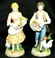 "Vintage HOMCO Item 1401 Porcelain Figurines Man & Woman 10""  Excellent Condition"