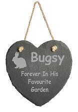 Personalised Laser Engraved Slate Heart Pet Memorial Marker Rabbit Pet