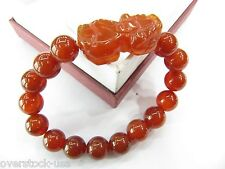 FINE 12mm Red Agate Round Beads with Pixiu Bracelet / Blessing Bracelet