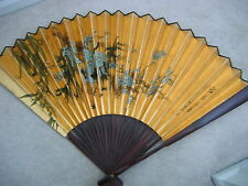 1980s Large WALL FAN Wood Hand Painted Birds Tree Chinese Characters Orig Box