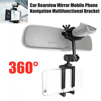 Universal Car Rearview Mirror Mount Mobile Phone Holder GPS Navigation Bracket