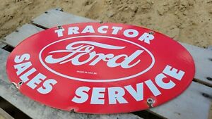 VINTAGE OLD DATED 1959 FORD SALELS & SERVICE TRACTOR PORCELAIN GAS STATION SIGN