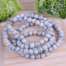 "1 Strand 4mm Blue White Howlite Turquoise Gemstone Round Loose Beads 14""L"
