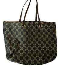Celine Denim & Brown Leather Large Tote Bag