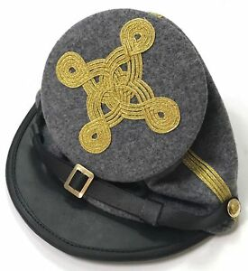 Civil War Confederate Bummer(Forage) Generals Full Leather Peak 4 rows Kepi Hat