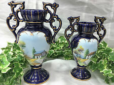 TWO LOVELY VINTAGE ALCOBACA PORTUGUESE POTTERY URNS