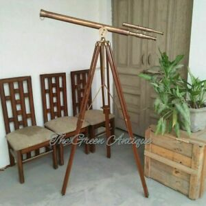 Antique Brass Double Barrel Maritime Floor Standing Telescope With Tripod Stand