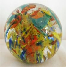 More details for multi coloured langham glass paperweight, label to base, internal bubbles