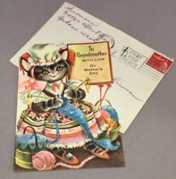 Embossed Cat in Rocker Knitting  1960's Vintage GIBSON Mothers Day Greeting Card
