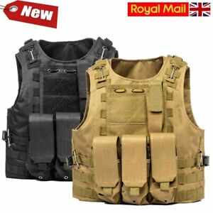 UK Unisex Tactical Military Vest Molle Combat Army Assault Plate Carrier Airsoft