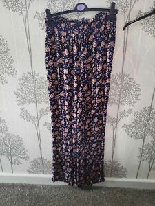 New Look Navy Floral Wide Fit Soft Trousers Size 14 Long