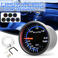 52mm Turbo Boost Pressure Pointer Gauge Meter -1~2bar 7 Colors Led Diaplay ~
