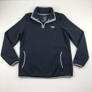 Women's L.L.Bean Sweater Fleece Pullover Blue T Snap Size Medium Regular