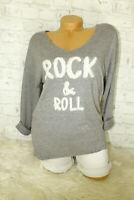 Italy Pulli Pullover Gr. 36 38 40 Rock & Roll grau blogger Shirt Angora NEU