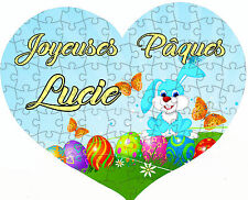 Puzzle coeur 108 pièces pâques lapin  personnalisé avec prénom / texte réf 27
