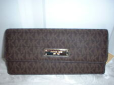 NWT Michael Kors Money Pieces Signature Flat Wallet Clutch Brown