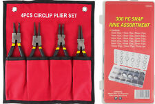 Snap Ring 4pc Plier Set + 300pc Snap Rings Internal External Circlip Plier