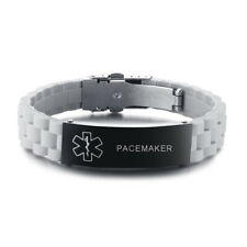 Medical Alert ID Men Women Kid Bracelet Cuff Gray Silicone Customized PACEMAKER
