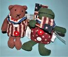 Russ Berrie Patriotic Pals 2 pc set #10913 NEW frog & bear waving flags July 4th