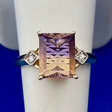 Vintage 10K Yellow Gold Emerald Cut Ametrine Diamond Engagement Cocktail Ring