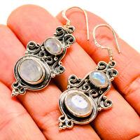 "Rainbow Moonstone 925 Sterling Silver Earrings 2"" Ana Co Jewelry E409990"