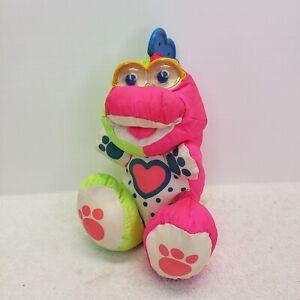 1991 PUFFALUMP Pink Green 1383 1384 Dinosaur Plush Rattle Baby Fisher Price
