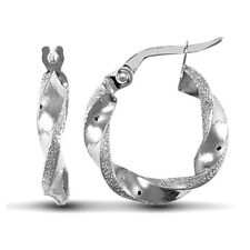 Forever Mine Fine 9ct White Gold Frosted Edge Twisted 3mm Hoop Earrings 17mm